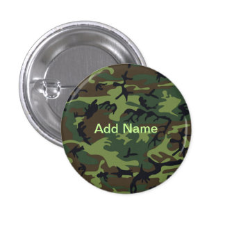 Military Green Camouflage 1 Inch Round Button