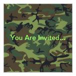Military Green Camouflage Custom Invitation