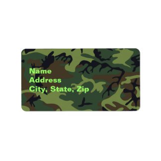 Military Green Camouflage Label