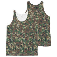 Military Green Camouflage Pattern All-Over-Print Tank Top