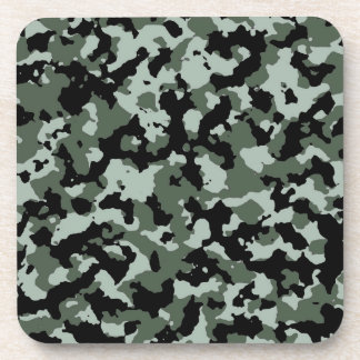 Military Green Camouflage Pattern Beverage Coaster