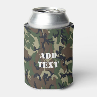 Military Green Camouflage Pattern Can Cooler