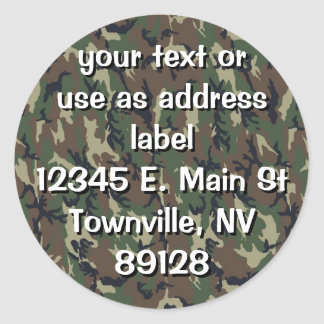 Military Green Camouflage Pattern Classic Round Sticker