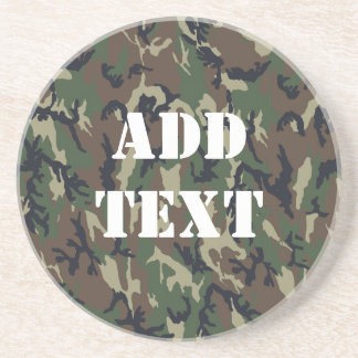 Military Green Camouflage Pattern Drink Coaster
