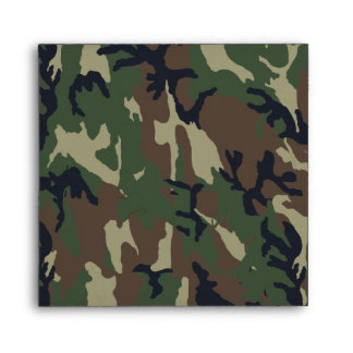 Military Green Camouflage Pattern Envelope