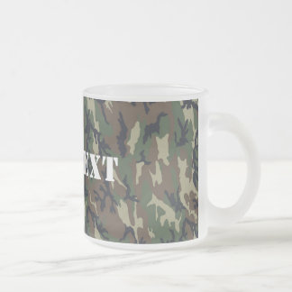 Military Green Camouflage Pattern Frosted Glass Coffee Mug