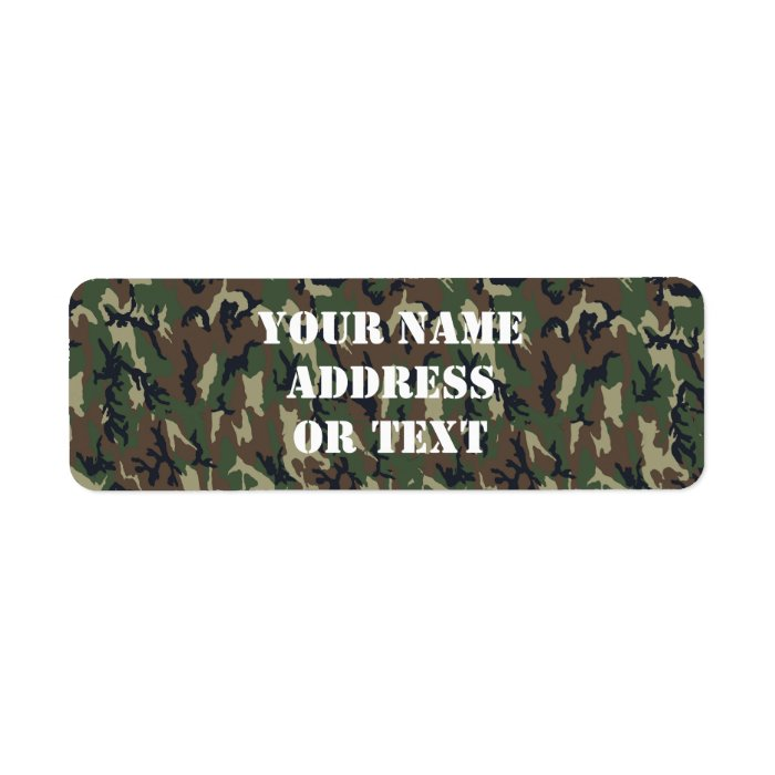 Military Green Camouflage Pattern Label