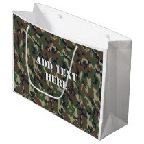 Military Green Camouflage Pattern Large Gift Bag