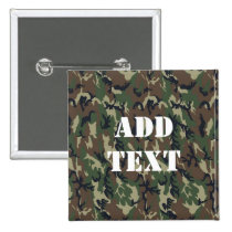 Military Green Camouflage Pattern Pinback Button