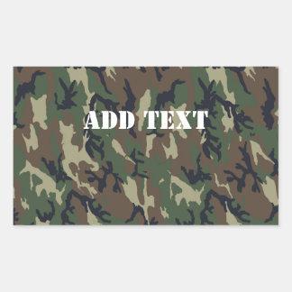 Military Green Camouflage Pattern Rectangular Sticker