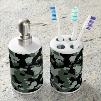 Military Green Camouflage Pattern Soap Dispenser & Toothbrush Holder