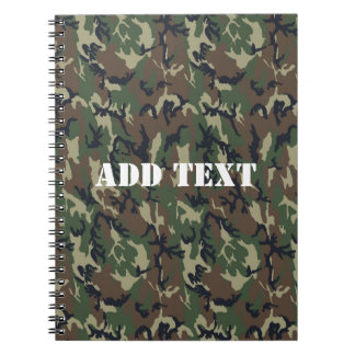 Military Green Camouflage Pattern Spiral Notebook