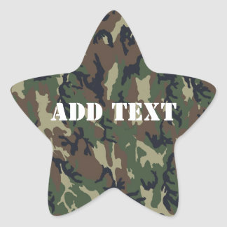 Military Green Camouflage Pattern Star Sticker