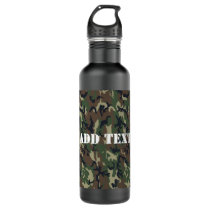 Military Green Camouflage Pattern Water Bottle