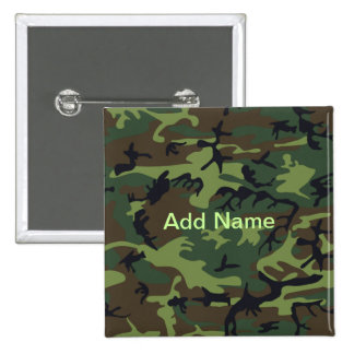 Military Green Camouflage Pinback Button