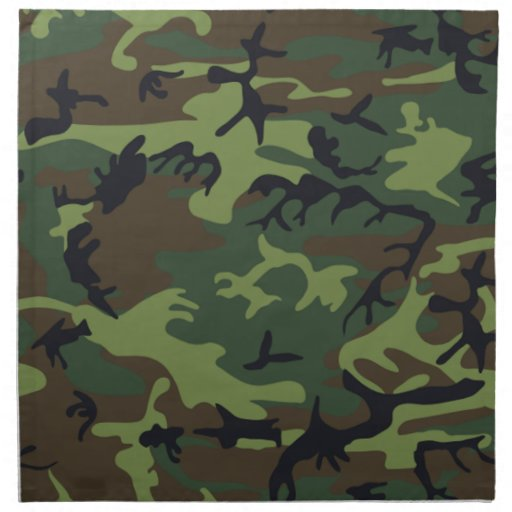 Military Green Camouflage Printed Napkin