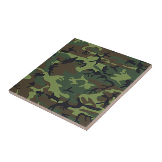 Military Green Camouflage Tile