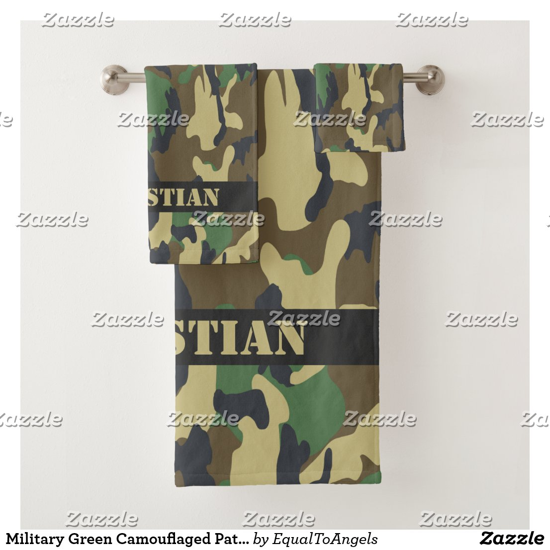 Military Green Camouflaged Pattern Personalized Bath Towel Set