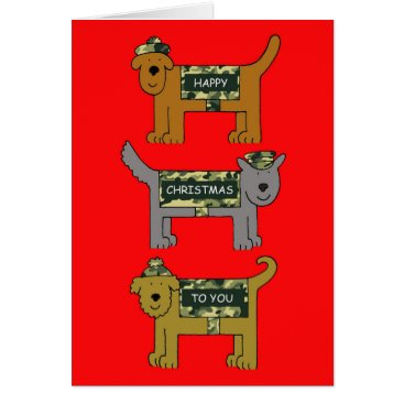 Military Happy Xmas dogs in camouflage outfits. Card