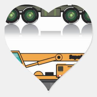 Military heavy crane truck heart sticker