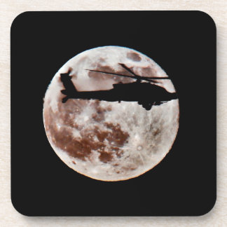 Military Helicopter Against Full Moon Beverage Coaster