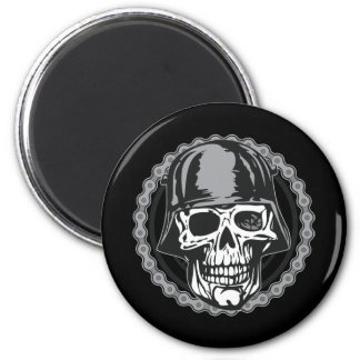 Military Helmet Skull With Biker Chain 2 Inch Round Magnet