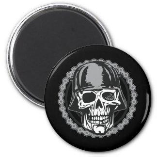 Military Helmet Skull With Biker Chain 2 Inch Round Magnet