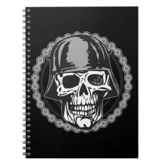 Military Helmet Skull With Biker Chain Notebook