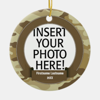 Military Hero - Camo SINGLE-SIDED Double-Sided Ceramic Round Christmas Ornament
