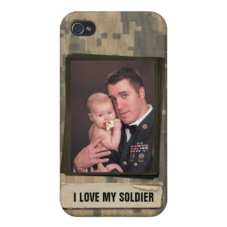 Military Hero I Love My Soldier Custom Photo Cover For iPhone 4