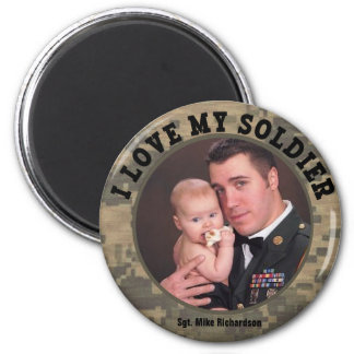 Military Hero I Love My Soldier Photo Frame Magnet