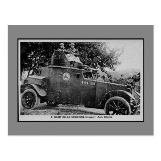 Military history French armored car Postcard