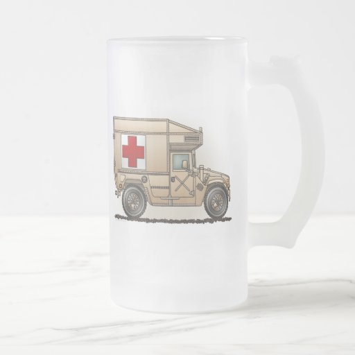 Military Hummer Ambulance Frosted Glass Mug