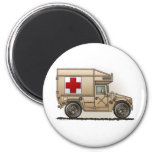 Military Hummer Ambulance Round Magnet