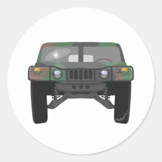 Military Humvee H1 Classic Round Sticker