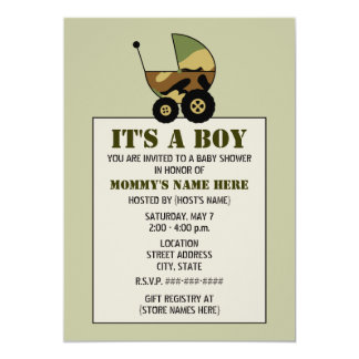 """Military Inspired Camoflauge Baby Stroller Shower 5"""" X 7"""" Invitation Card"""