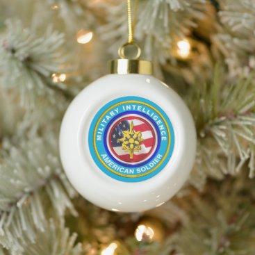 Military Intelligence Veteran Keepsake Ceramic Ball Christmas Ornament