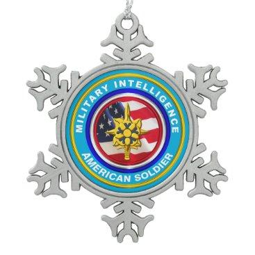 Military Intelligence Veteran Keepsake Snowflake Pewter Christmas Ornament