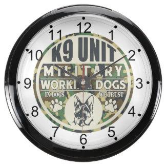 Military K9 Unit Working Dogs Fish Tank Clocks