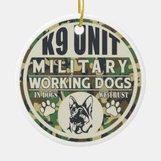 Military K9 Unit Working Dogs Ceramic Ornament