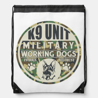 Military K9 Unit Working Dogs Drawstring Backpacks