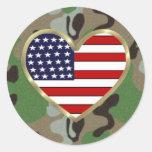 Military Love Round Stickers