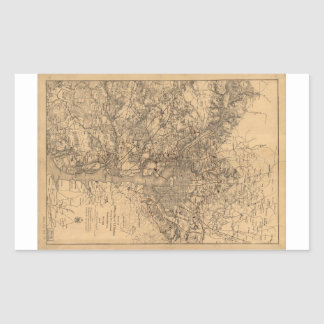 Military Map N.E. Virginia with Forts & Roads 1865 Rectangular Sticker