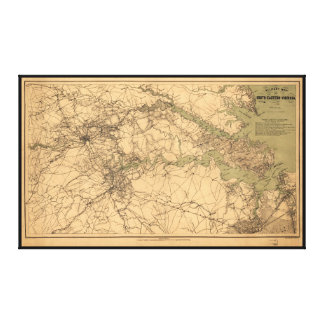 Military Map of South Eastern Virginia (1864) Canvas Print