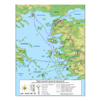 Military Map of the Ionian Revolt Campaign Postcard