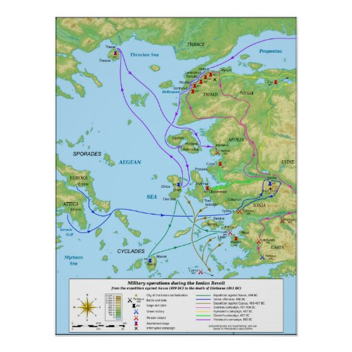 Military Map of the Ionian Revolt Campaign Posters