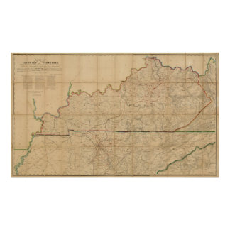 Military Map of the States of Kentucky Poster