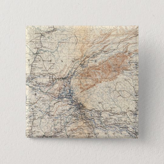 Military map, WT Sherman Pinback Button