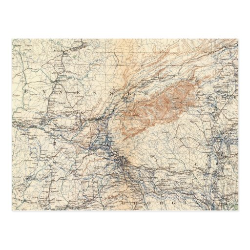 Military map, WT Sherman Post Cards