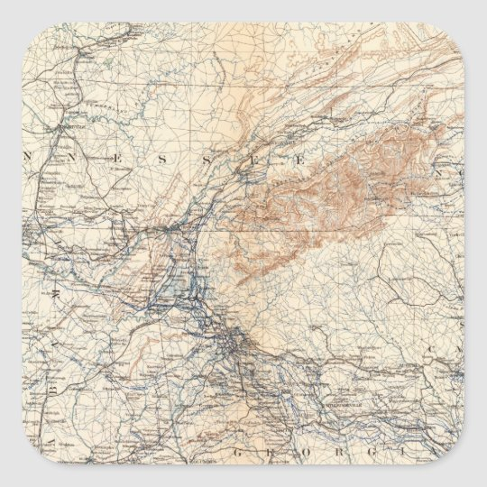 Military map, WT Sherman Square Sticker